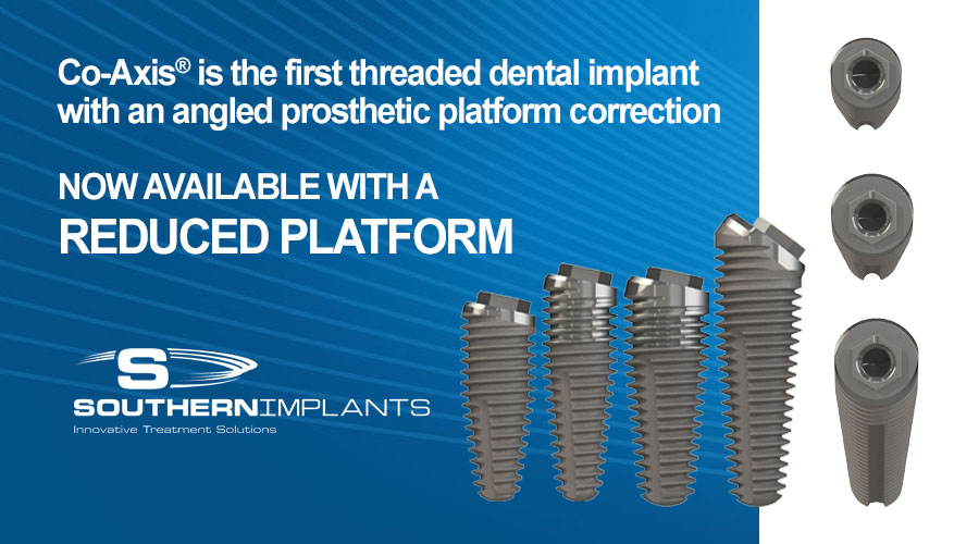 Co-Axis® is the first threaded dental implant with an angled prosthetic platform correction NOW AVAILABLE WITH A REDUCED PLATFORM