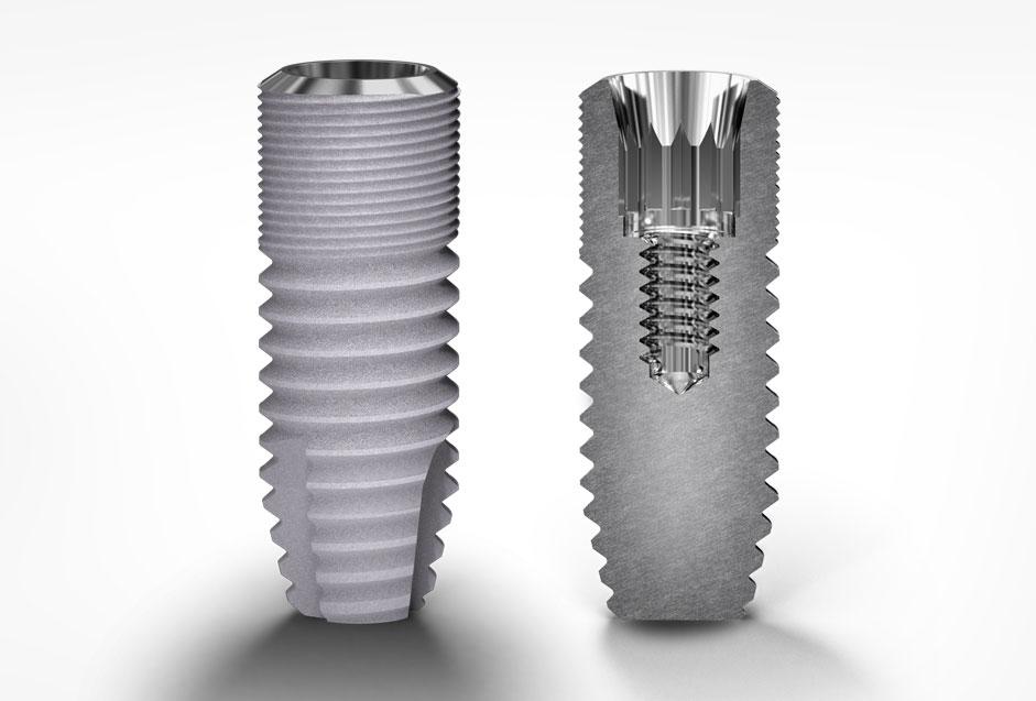 Djup konisk anslutning cylindriska implantat