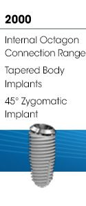 2000 - Internal Octagon Connection Range, Tapered Body Implants, 45° Zygomatic Implant