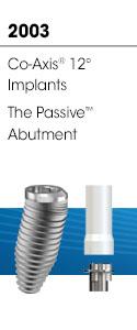 2003 - Co-Axis® 12 ° Implantat, Passive ™ Abutment