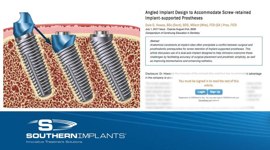 Vinklat implantatdesign för att tillgodose skruvhållna implantat-stödda proteser