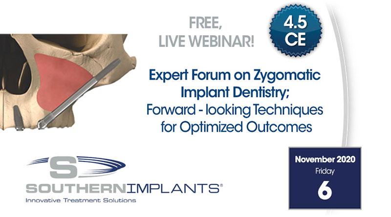 6 de noviembre de 2020 - Foro de expertos en odontología de implantes cigomáticos; Técnicas prospectivas para resultados optimizados